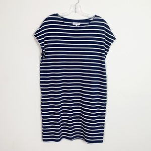 Aritzia | striped t-shirt dress navy blue white S